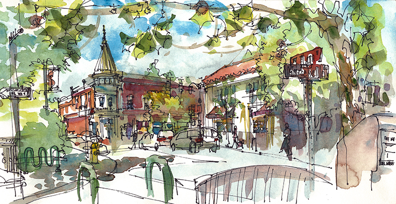 LOS GATOS ,  CALIFORNIA, watercolor, pen & ink