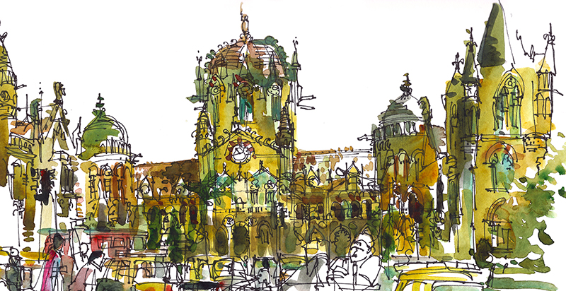 VICTORIA TERMINUS, MUMBAI,   INDIA,   watercolor, pen & ink