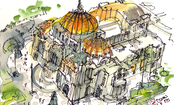 GOLDEN DOME,   MEXICO CITY,   watercolor, pen & ink