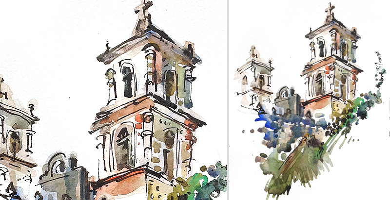 CHURCH IN VALLADOLID ,   MEXICO,   watercolor, pen & ink
