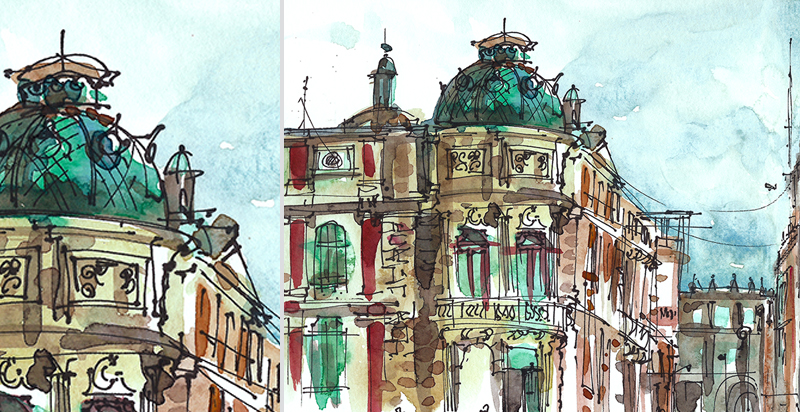 TURQUOISE DOME,   MEXICO CITY,   watercolor, pen & ink