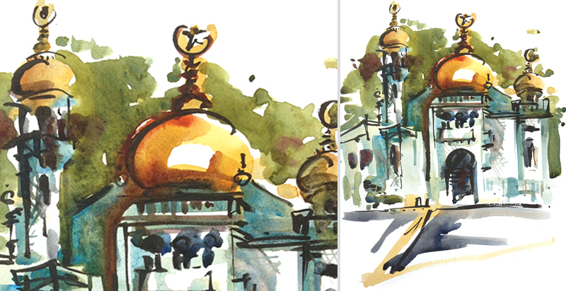 BLUE MOSQUE,   SINGAPORE,   watercolor, brush pen