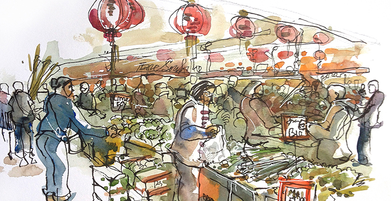 ASIAN SUPERMARKET ,   USA,  watercolor, pen & ink