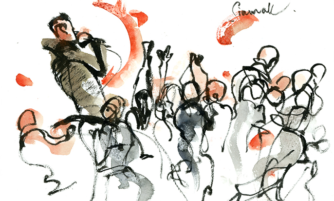 CONCERT ,  watercolor, pen & ink