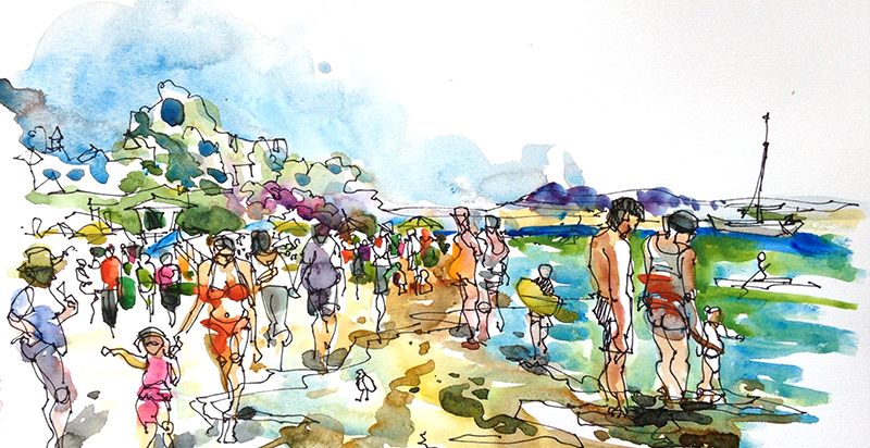 AT THE BEACH ,   CALIFORNIA,  watercolor, pen & ink