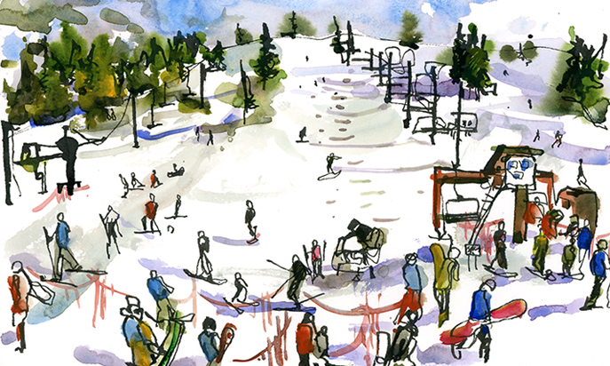SKI SEASON,  watercolor, pen & ink