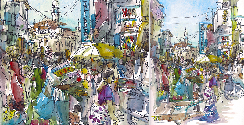 CROWDED STREET IN MUMBAI ,   INDIA,  watercolor, pen & ink
