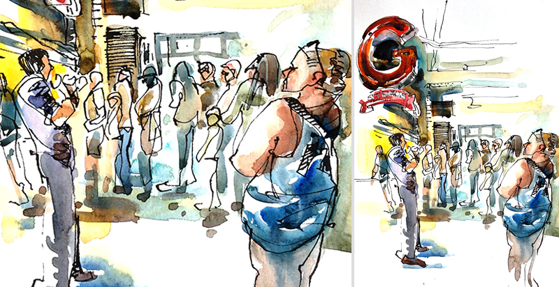 THERE'S ALWAYS A LINE FOR GOOD FOOD ,  watercolor, pen & ink