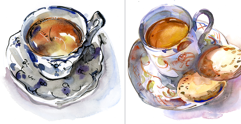 THREE TEACUPS,  watercolor, pen & ink