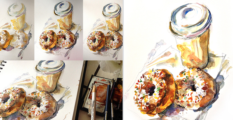 DONUTS AND COFFEE,   STEP-BY-STEP,   watercolor