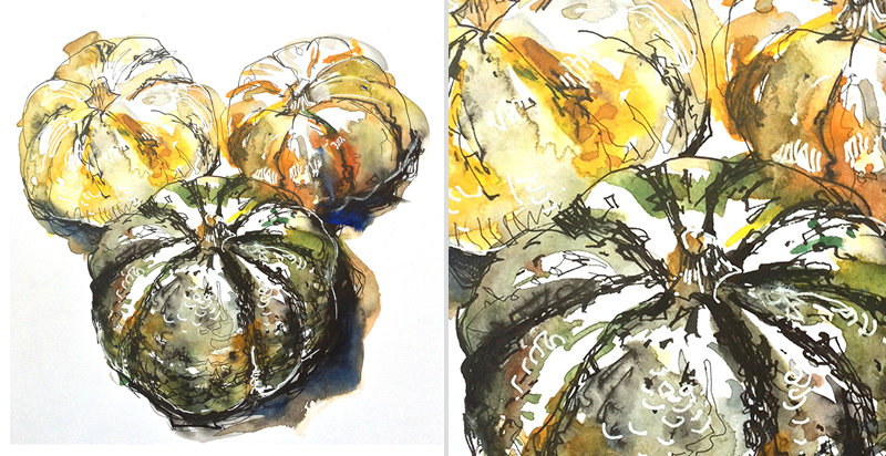 PUMPKINS,  watercolor, pen & ink