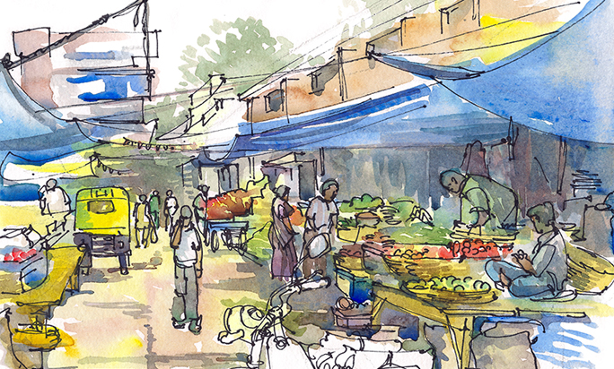 MARKET WITH BLUE TARPS,   INDIA,  watercolor, pen & ink