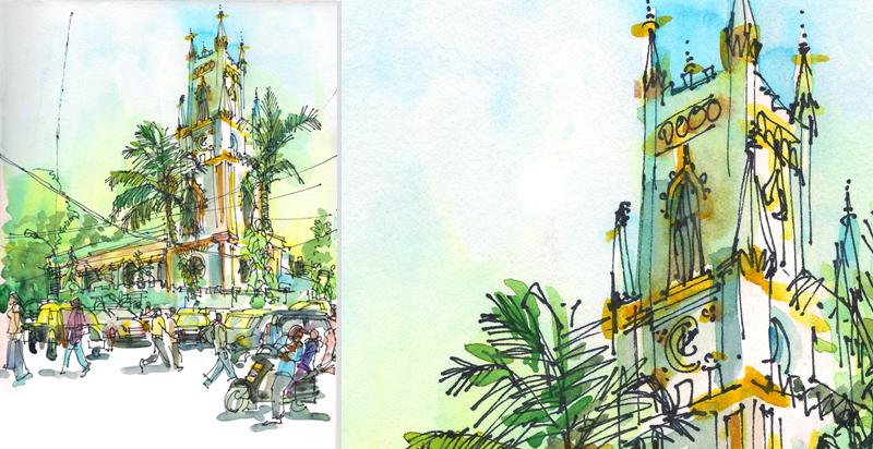 HORNIMON CIRCEL, MUMBAI ,  INDIA, watercolor, pen & ink