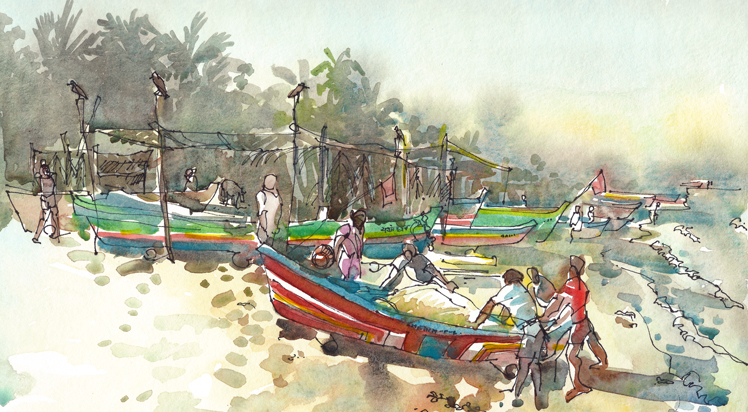 BRINGING IN THE CATCH ,  INDIA, watercolor, pen & ink