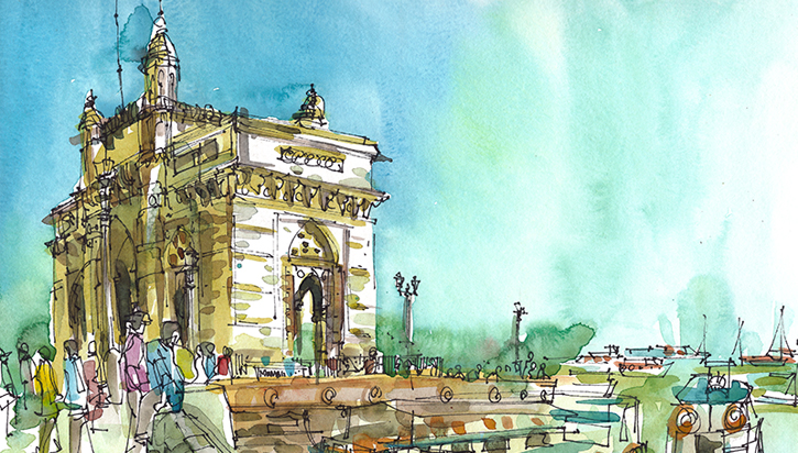 GATEWAY OF INDIA ,  INDIA, watercolor, pen & ink