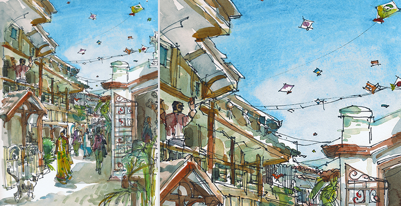 KITE FLYING ,  INDIA, watercolor, pen & ink