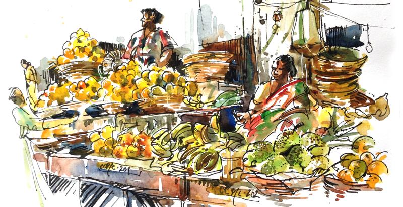 MARKET SCENE ,  INDIA, watercolor, pen & ink