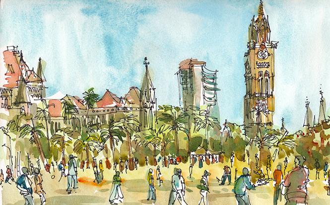 CRICKET AT OVAL MAIDAN, MUMBAI ,  INDIA, watercolor, pen & ink
