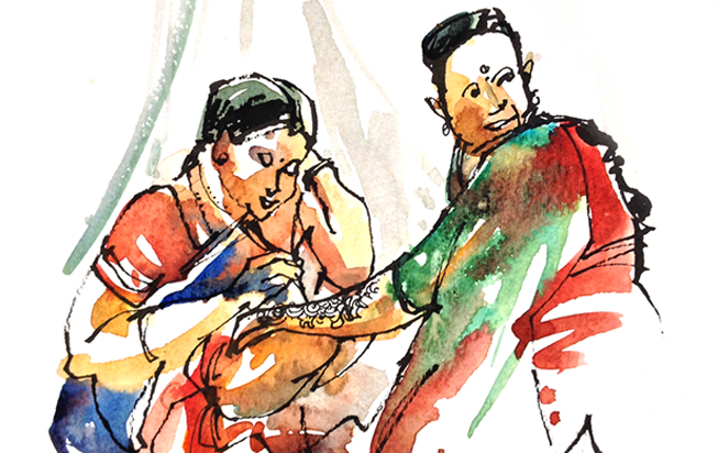 HENNA CEREMONY AT A WEDDING ,  INDIA, watercolor, pen & ink