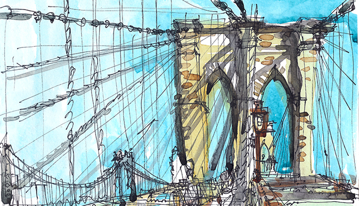BROOKLYN BRIDGE ,   NEW YORK,  watercolor, pen & ink