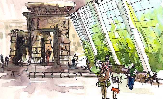 TEMPLE OF DENCUR AT THE MET ,   NEW YORK,  watercolor, pen & ink