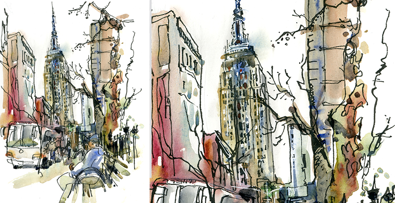 EMPIRE STATE ,   NEW YORK,  watercolor, pen & ink