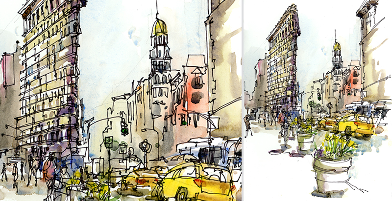 FLATIRON ,   NEW YORK,  watercolor, pen & ink