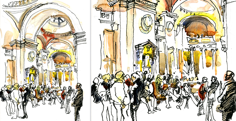 AT THE MET,   NEW YORK,  watercolor, pen & ink