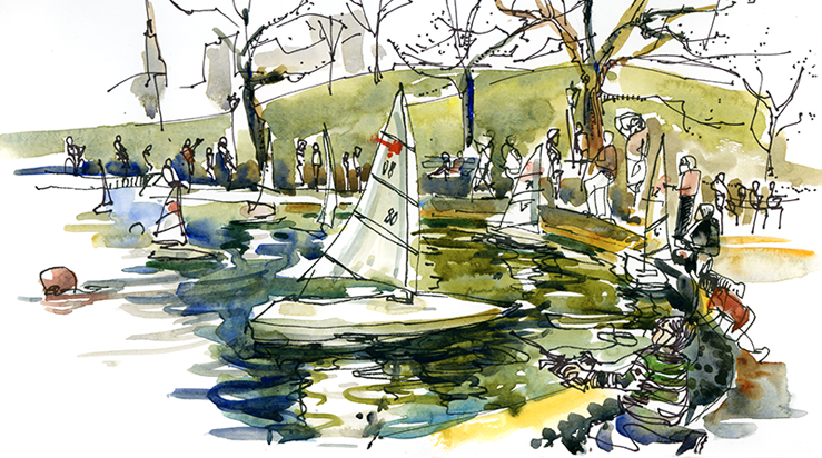 BOATS AT CENTRAL PARK ,   NEW YORK,  watercolor, pen & ink
