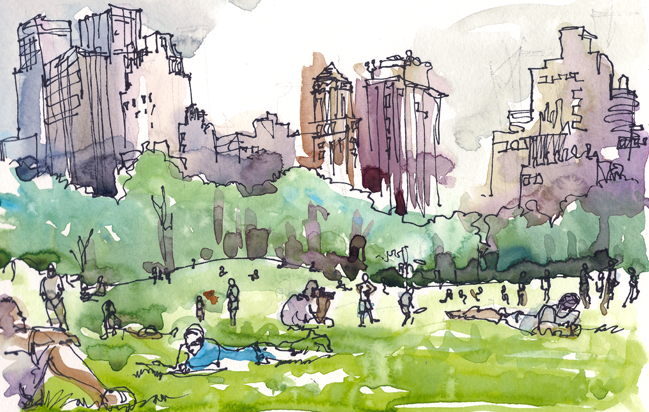 SHEEP MEADOW AT CENTRAL PARK ,   NEW YORK,  watercolor, pen & ink