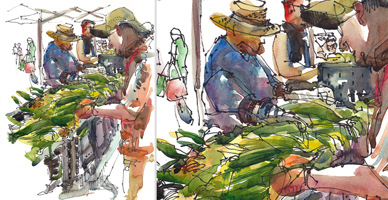SUMMERTIME AT THE FARMER'S MARKET,   CALIFORNIA,   watercolor, pen & ink