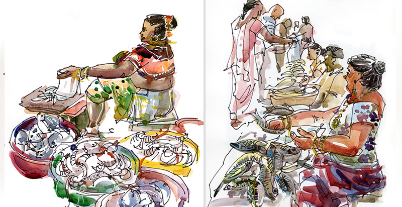FISHMONGERS,   GOA, INDIA,   watercolor, pen & ink