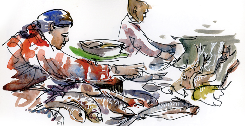 FISH MARKET,   CAMBODIA,   watercolor, pen & ink