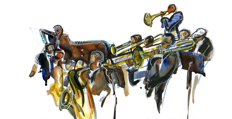 JAZZ,  watercolor, pen & ink