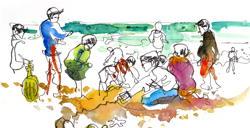 AT THE BEACH,  watercolor, pen & ink