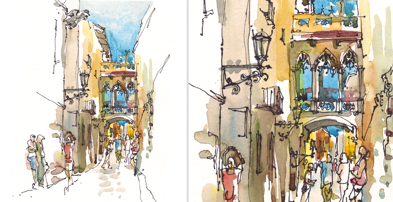 BARRI GOTIC, BARCELONA,   SPAIN,  watercolor, pen & ink