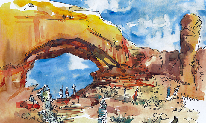 ARCHES NATIONAL PARK, UTAH ,   USA,  watercolor, pen & ink