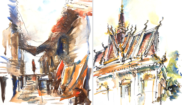 TEMPLE ,   CAMBODIA,  watercolor, brushpen