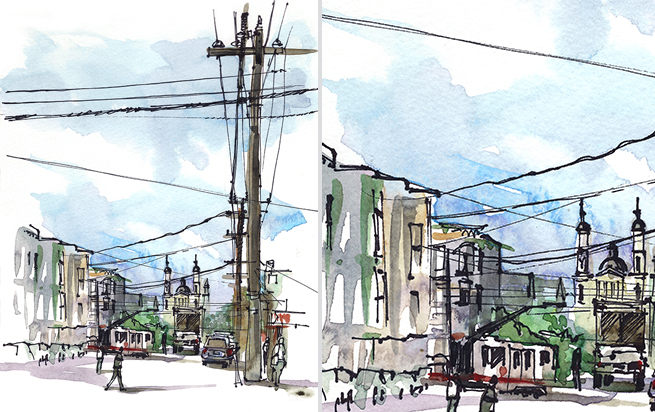 COLE VALLEY,   SAN FRANCISCO,  watercolor, pen & ink