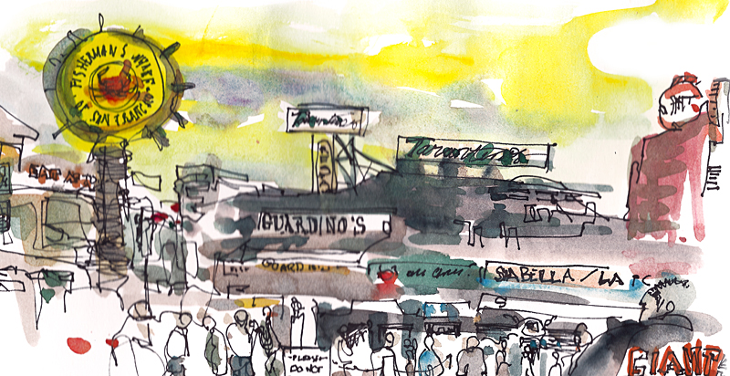 FISHERMAN'S WHARF,   SAN FRANCISCO,  watercolor, pen & ink