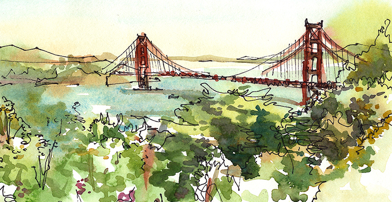 GOLDEN GATE BRIDGE,   SAN FRANCISCO,  watercolor, pen & ink