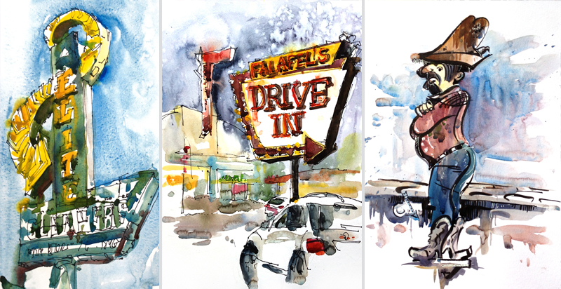 ELITE CLEANERS, FELAFEL'S DRIVE-IN, DEALIN'DOLLAR DAN,   VINTAGE SIGNAGE, SAN JOSE, CALIFORNIA,   watercolor, pen & ink