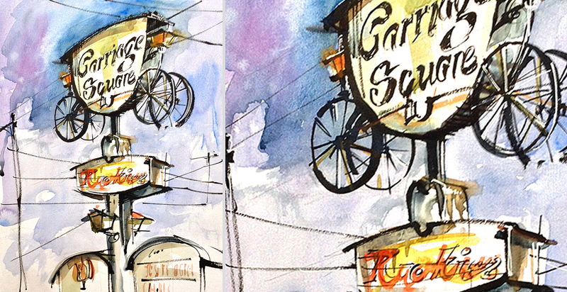 CARRIAGE SQUARE,   VINTAGE SIGNAGE, SAN JOSE, CALIFORNIA,   watercolor, pen & ink