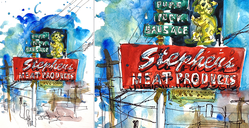 STEPEHEN'S MEAT PRODUCTS,   VINTAGE SIGNAGE, SAN JOSE, CALIFORNIA,   watercolor, pen & ink