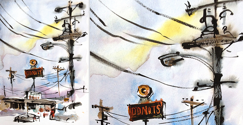 SPUTNIK DONUTS,   VINTAGE SIGNAGE, SAN JOSE, CALIFORNIA,   watercolor, pen & ink