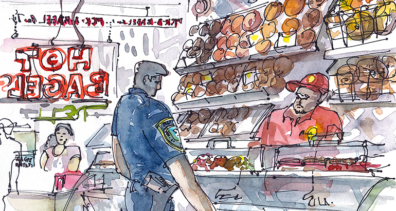 BAGELS ,   NEW YORK,   watercolor, pen & ink
