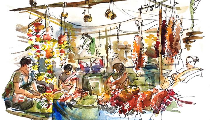 FLOWER SELLERS ,  INDIA, watercolor, pen & ink