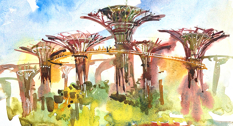 SUPERTREES AT GARDENS BY THE BAY ,   SINGAPORE,  watercolor