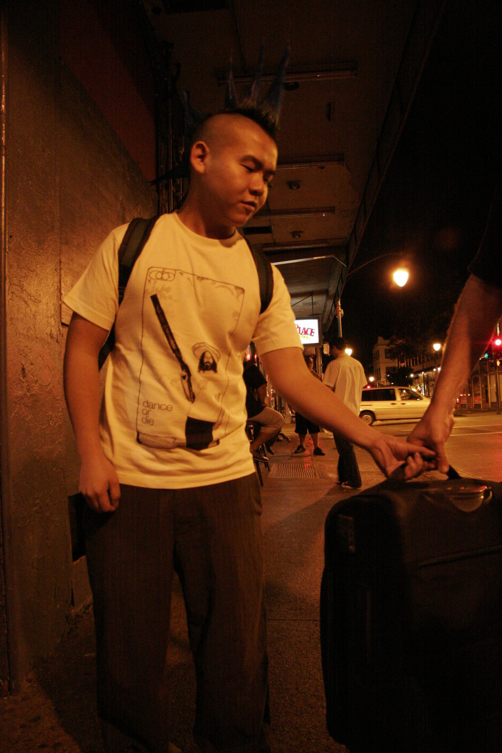 Lammie helping Francois with his luggage, February, 2005. I lived vicariously through him because he let me cut his hair into a mohawk.