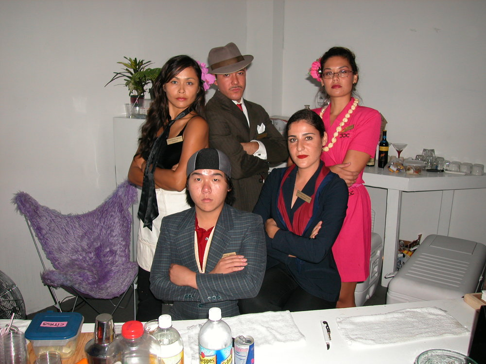 Selena, Richard, Malia, Gelareh, and Chris dressed as hotel staff, Halloween, 2004.